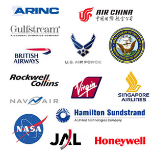 JAL, Air China, Ryanair, Gulfstream, Honeywell, British Airways, BAE Systems, Singapore Airlines, Virgin, NASA, Rockwell Collins, Hamilton Sundstrand